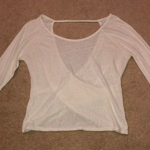 An American Eagle Outfitters, white mesh shirt.